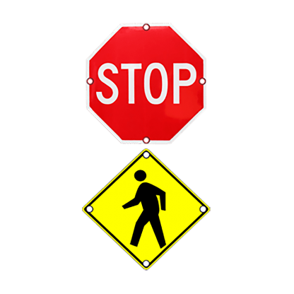 TS40 Flashing Stop and Pedestrian Warning Combo Sign day