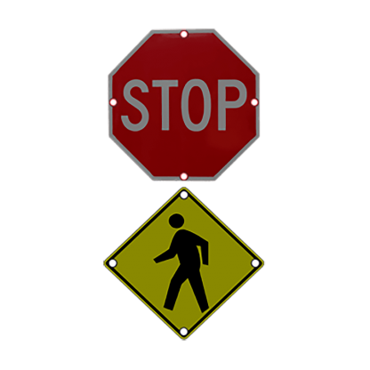 TS40 Flashing Stop and Pedestrian Warning Combo Sign night