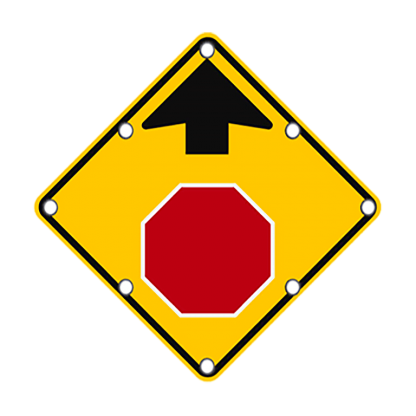 TS40 Flashing Stop Ahead Sign day