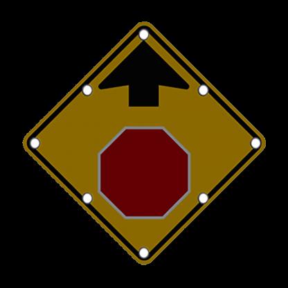 TS40 Flashing Stop Ahead Sign night