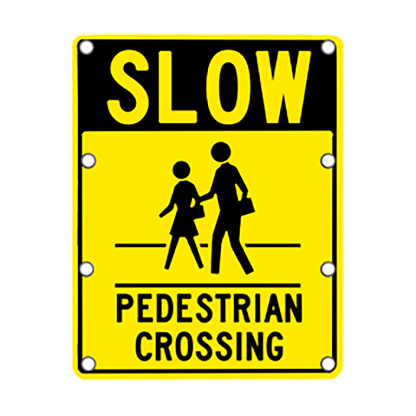 TS40 Flashing Slow Pedestrian Crossing Sign day