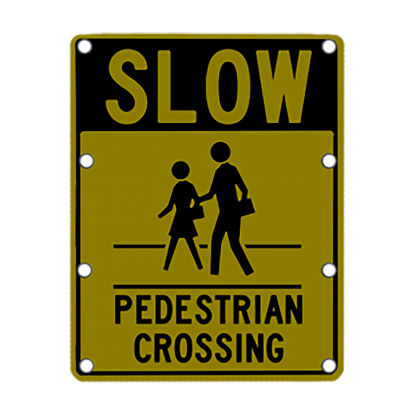 TS40 Flashing Slow Pedestrian Crossing Sign night