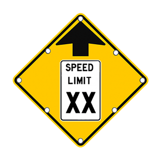 TS40 Flashing Reduced Speed Limit Ahead Sign day