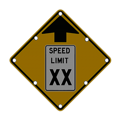 TS40 Flashing Reduced Speed Limit Ahead Sign night