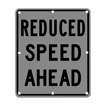 TS40 Flashing Reduced Speed Ahead Sign night
