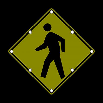 TS40 Flashing Pedestrian Sign Night