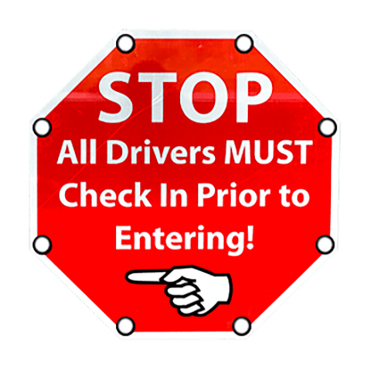 TS40 Flashing Octagon Sign Stop All Drivers MUST Check in Day