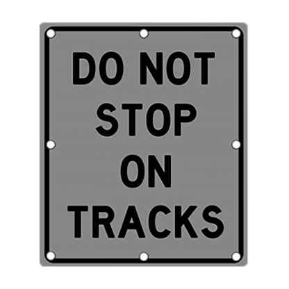 TS40 Flashing Do Not Stop on Tracks Sign night