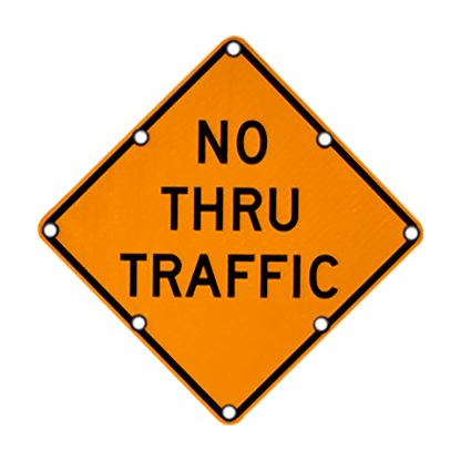 TS40 Flashing Diamond Sign No Thru Traffic Day