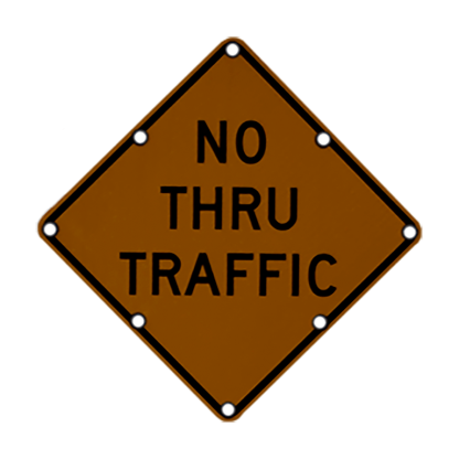 TS40 Flashing Diamond Sign No Thru Traffic Night