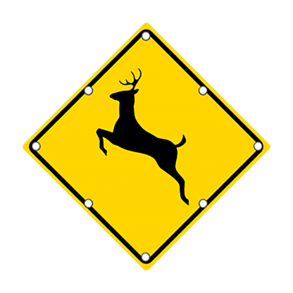 TS40 Flashing Deer Crossing sign day