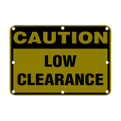 TS40 Flashing Caution Low Clearance sign Night
