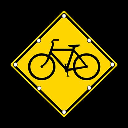 TS40 Flashing Bicycle Warning Sign day