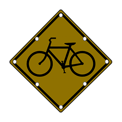TS40 Flashing Bicycle Warning Sign night