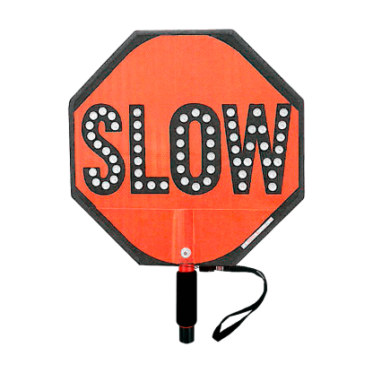 Paddle Stop Slow Flashing LED Hand Held Sign 18 inch Slow