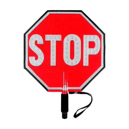 Paddle Stop Slow Flashing LED Hand Held Sign 18 inch Stop