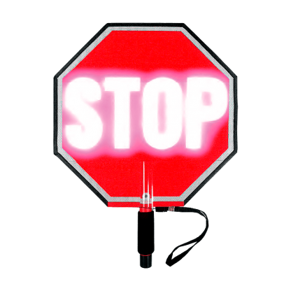 Paddle Stop Slow Flashing LED Hand Held Sign 18 inch Stop Lit