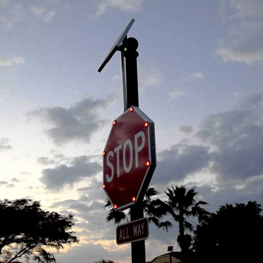 "TS40 ""STOP"" Flashing LED Edge Lit Sign"