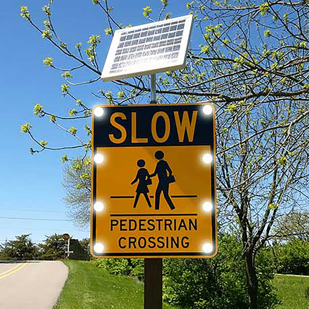"TS40 ""SLOW PEDESTRIAN CROSSING"" Flashing LED Edge Lit Sign"
