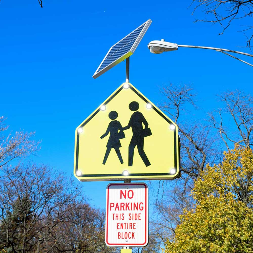 TS40 School Zone Crossing Flashing LED Edge Lit Sign