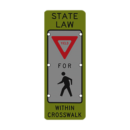 TS40 Flashing State Law Yield for Pedestrians Sign night