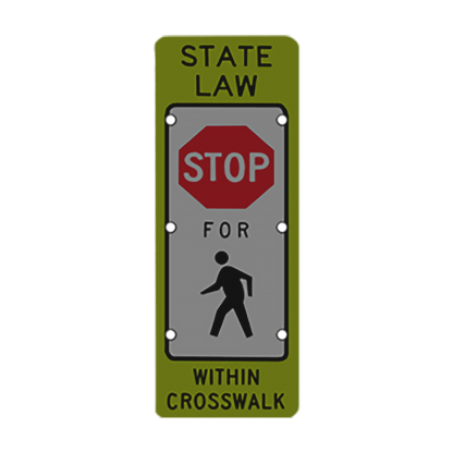 TS40 Flashing State Law Stop for Pedestrians Sign night