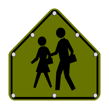 TS40 Flashing School Zone Crossing sign night