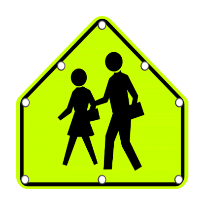 TS40 Flashing School Zone Crossing sign day