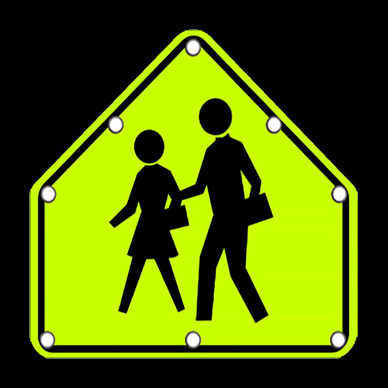 TS40 Flashing School Zone Crossing sign day
