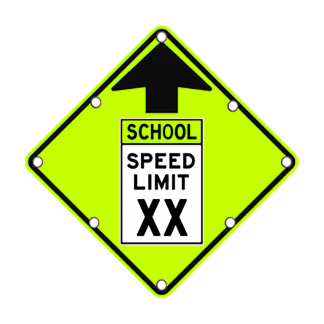 TS40 Flashing Reduced School Speed Limit Ahead Sign day FYG