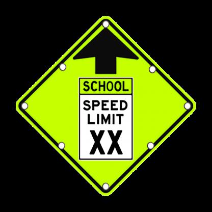 TS40 Flashing Reduced School Speed Limit Ahead Sign day FYG