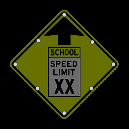 TS40 Flashing Reduced School Speed Limit Ahead Sign night FYG