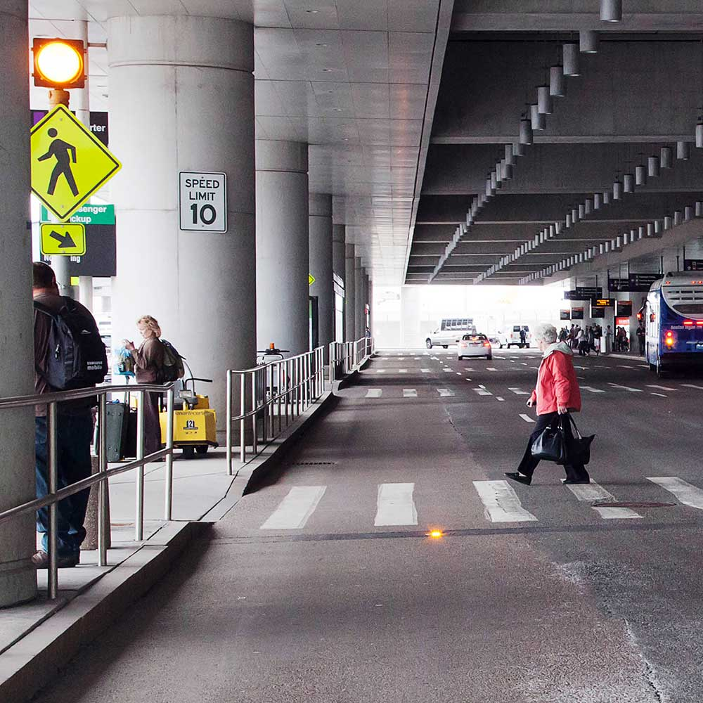 Crosswalk Warning Lights at Boston Logan International Airport